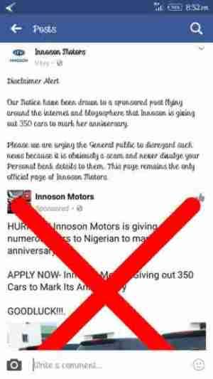 Innoson Motors Warns Of An Employment Scam (Photo)